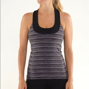 Lululemon Scoop Neck Tank Grey and White Stripe